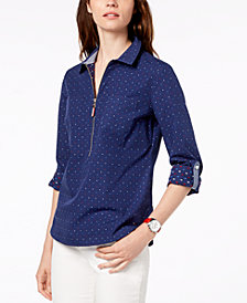 Tommy Hilfiger Cotton Half-Zip Printed Popover Top, Created for Macy's