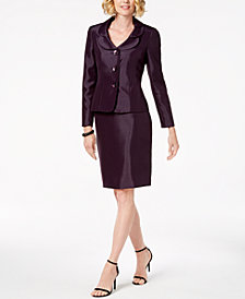 Le Suit Shiny Three-Button Skirt Suit