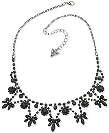 "GUESS Hematite-Tone & Jet Stone Statement Necklace, 16"" + 2"" extender"