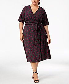 Fox & Royal Trendy Plus Size Printed Faux-Wrap Dress
