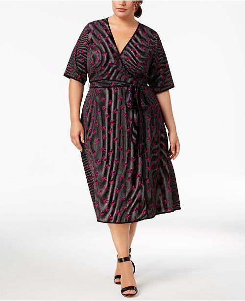 Fox & Royal Trendy Plus Size Printed Faux-Wrap Dress & Reviews ...