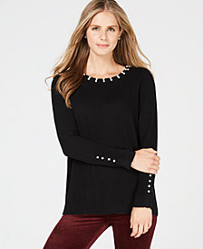 Charter Club Faux-Pearl-Embellished Pure Cashmere Sweater, Created for Macy's