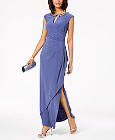 Alex Evenings Embellished & Draped Keyhole Gown