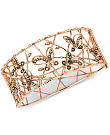 Le Vian Chocolatier® Diamond Butterfly Openwork Bangle Bracelet (1-1/6 ct. t.w.) in 14k Rose Gold
