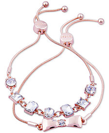 GUESS Rose Gold-Tone 2-Pc. Set Crystal Friendship Slider Bracelets