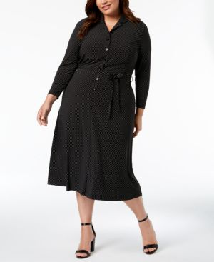 Image of Anne Klein Plus Size Pin Dot Shirtdress