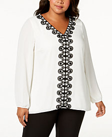 Alfani Plus Size Crochet-Trim Tunic, Created for Macy's