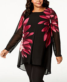 Alfani Plus Size Floral-Print Sheer Tunic, Created for Macy's