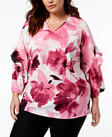 Alfani Plus Size Printed Ruffled-Sleeve Zip-Back Top, Created for Macy's
