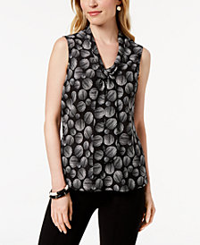 Kasper  Printed Tie-Neck Shell, Regular & Petite Sizes