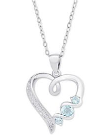 "Blue Topaz Heart 18"" Pendant Necklace (3/8 ct. t.w.) in Sterling Silver"