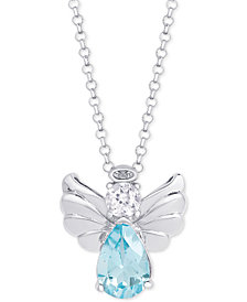 "Blue Topaz (2-1/3 ct. t.w.) & White Topaz (1/3 ct. t.w.) Angel 18"" Pendant Necklace in Sterling Silver"