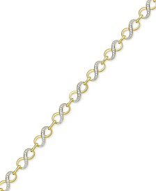 Diamond Accent Infinity Link Bracelet in 18k Gold over Silver-Plate