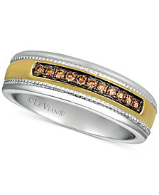 His by Le Vian® Men's Diamond Two-Tone Ring (1/5 ct. t.w.) in 14k Gold & White Gold