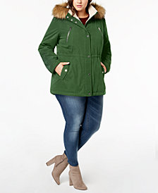 Nautica Plus Size Faux-Fur-Trim Fleece-Collar Hooded Anorak Coat