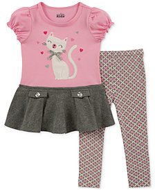 Kids Headquarters Little Girls 2-Pc. Embroidered Cat Tunic & Leggings Set