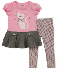 Kids Headquarters Little Girls 2-Pc. Embroidered Cat Tunic & Leggings Set (Pink)