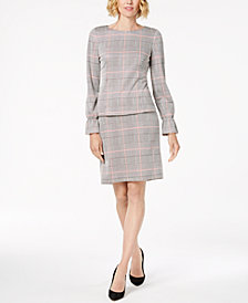 Nine West Plaid Bell-Sleeve Top & Pencil Skirt