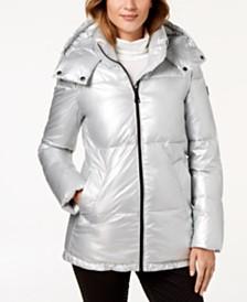 Calvin Klein Hooded Metallic Puffer Coat