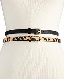 2-for-1 Solid & Animal-Print Skinny Belts