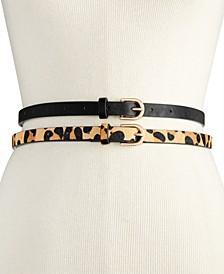 2-for-1 Solid & Animal-Print Skinny Belts
