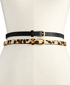 Vince Camuto 2-for-1 Solid & Animal-Print Skinny Belts