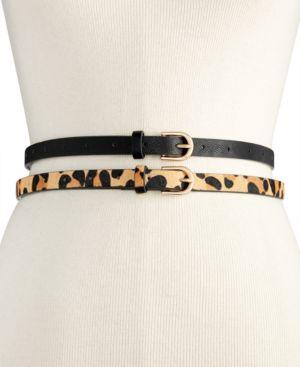 2-For-1 Solid & Animal-Print Skinny Belts in Leopard/Black