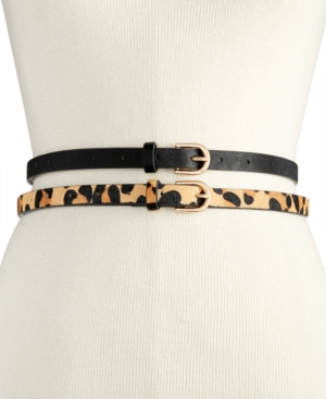 Image of Vince Camuto 2-for-1 Solid & Animal-Print Skinny Belts