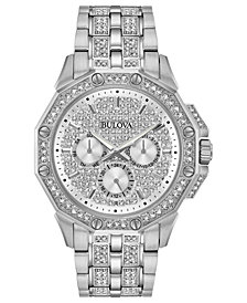 Bulova Men's Stainless Steel & Crystal-Accent Bracelet Watch 41.5mm