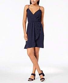 Monteau Petite Faux-Wrap Dress