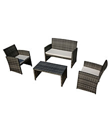 Camila 4-Pc. Outdoor Chat Set (1 Loveseat, 1 Coffee Table & 2 Chairs), Quick Ship