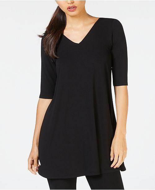 Sleeve Elbow Tunic Eileen Fisher Black EFvwqxOH