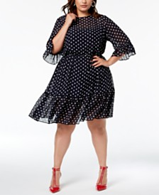 Betsey Johnson Plus Size Ruffled Polka-Dot Dress