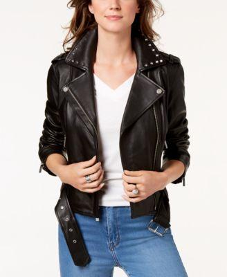 Studded-Collar Leather Moto Jacket