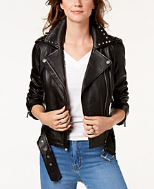 MICHAEL Michael Kors Studded-Collar Leather Moto Jacket