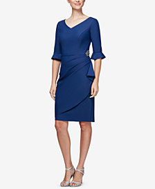 Alex Evenings Embellished Compression Faux-Wrap Dress