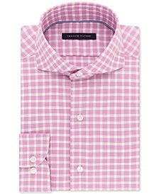 Tommy Hilfiger Men's Classic/Regular Fit Non-Iron Stretch Pink Check Dress Shirt
