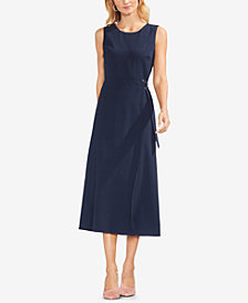 Vince Camuto Belted Pinstriped Midi Dress