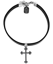"King Baby Women's Cross Leather Choker Necklace in Sterling Silver, 12+ 2"" extender"