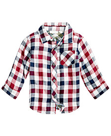 First Impressions Baby Boys Bonded Plaid Cotton Shirt, Created for Macy's