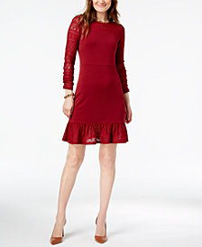 MICHAEL Michael Kors Petite Pointelle Trim Flounce Dress