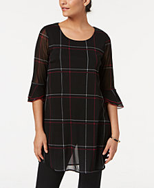 Alfani Plaid Tunic, Created for Macy's