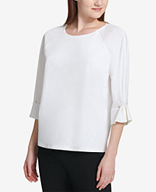 Calvin Klein Faux-Pearl Cinched-Sleeve Blouse
