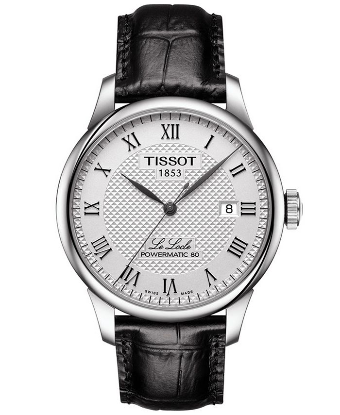 Tissot - Men's Swiss Automatic T-Classic Le Locle Powermatic 80 Black Leather Strap Watch 39.3mm