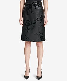 Calvin Klein Flocked Faux-Leather Pencil Skirt