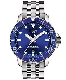 Men's Swiss Automatic T-Sport Seastar 1000 Gray Stainless Steel Bracelet Diver Watch 43mm