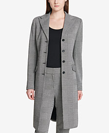Calvin Klein Plaid Long Topper Coat