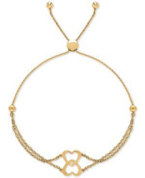 Double Heart Bolo Bracelet in 10k Gold -  Macy's