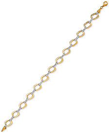 Two-Tone Oval Link Reversible Bracelet in 10k Gold & White Gold