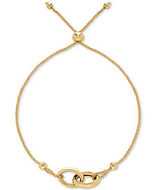 Interlocking Ring Bolo Bracelet in 14k Gold